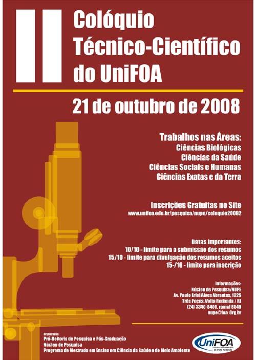 Visualizar v. 3 n. 1 esp (2008): II Colóquio Técnico-científico do UniFOA
